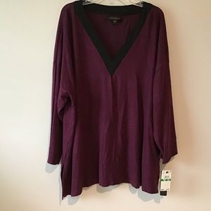 Top Large Sleepwear Burgundy NWT Donna Karan